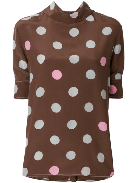 MARNI shirt women print silk brown top