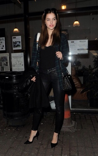 jacket barbara palvin green tartan black bag black leather pants shoes jeans tank top