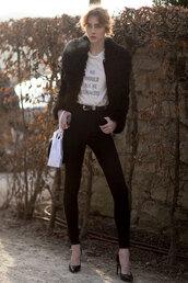 t-shirt,feminist,black jacket,feminist tshirt,equality,white t-shirt,jacket,fuzzy jacket,jeans,denim,black jeans,black skinny jeans,skinny jeans,pumps,pointed toe pumps,high heel pumps,belt,western belt,streetstyle,shirt