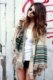poncho,fringes,native american,sunglasses,hippie,cardigan,sweater