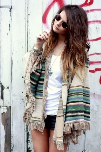 poncho fringes native american sunglasses hippie cardigan