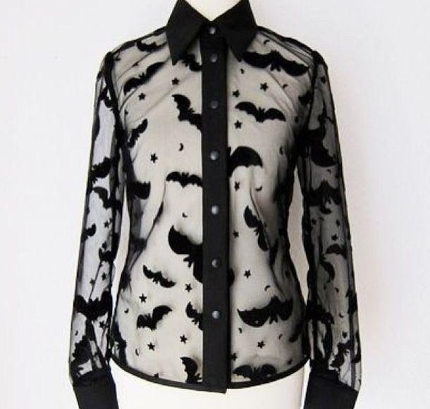 blouse black goth bats sheer top shirt goth goth hipster batman goth shirt black shirt see through top