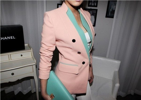 jacket pink mint blue buttons multicolor stylish