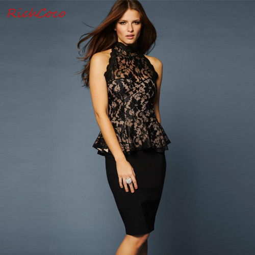 2014 fashion lace sexy ruffle strapless cutout sweep the back sleeveless lace turtleneck shirt d182 XS S M L XL XXL  black-inBlouses & Shirts from Apparel & Accessories on Aliexpress.com