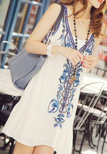 White and Blue Beaded Sleeveless Beach Dress