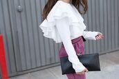 shirt,tumblr,white shirt,ruffle,ruffle shirt,long sleeves,skirt,lilac,purple,bag,black bag,pouch,leather pouch,clutch,minimalist bag