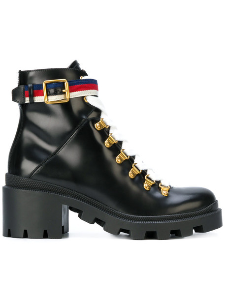 gucci women boots ankle boots leather black shoes