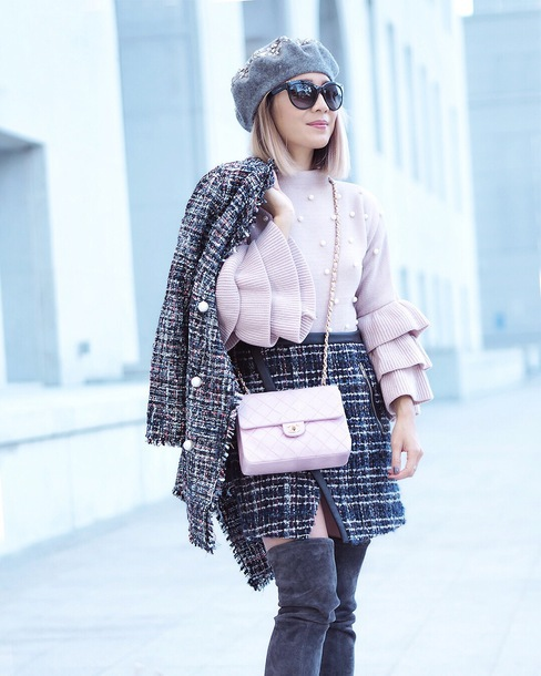 laminlouboutins blogger jacket sweater skirt shoes fall outfits beret chanel bag boots over the knee boots