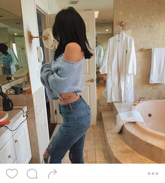 kylie jenner cropped sweater sweater light blue instagram cropped blue sweater knitted sweater