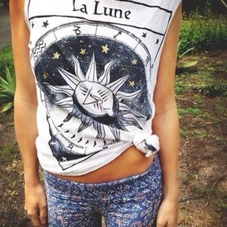 t-shirt la lune shirt pants tank top sun lalune white wicca