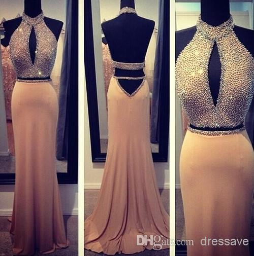 Discount 2014 Sexy Mermaid Long Prom Dresses Stuning High Neck Beading Open Back Spandex Evening Gowns Pary Dresses BO5722 Online with $144.04/Piece | DHgate
