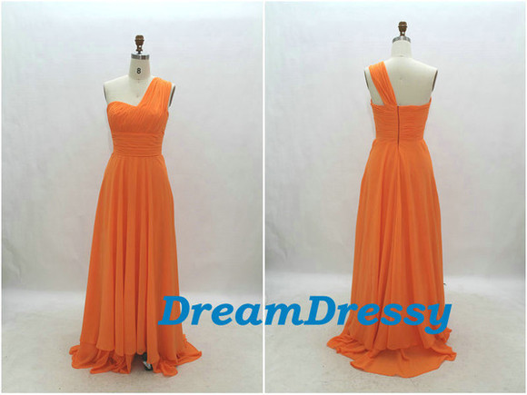 orange dress bridesmaid dresses one-shoulder dress