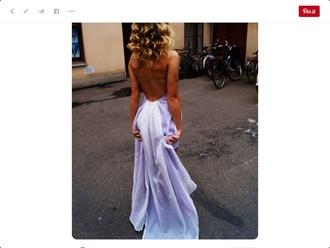 dress purple blue prom backless prom dress