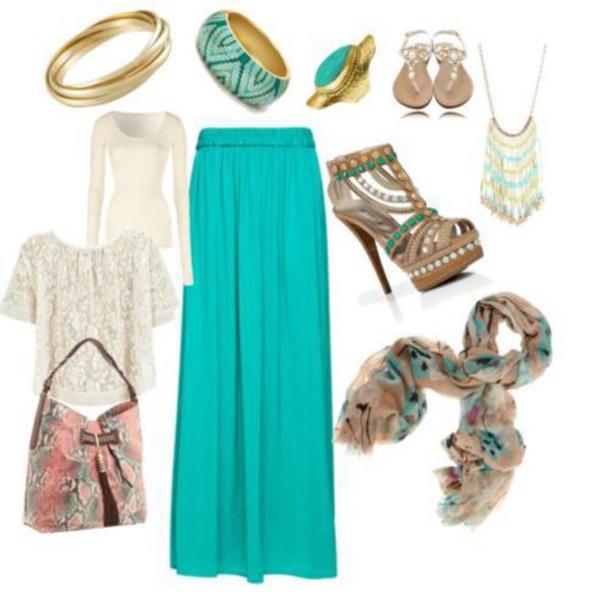 skirt turquoise skirt maxi skirt scarf
