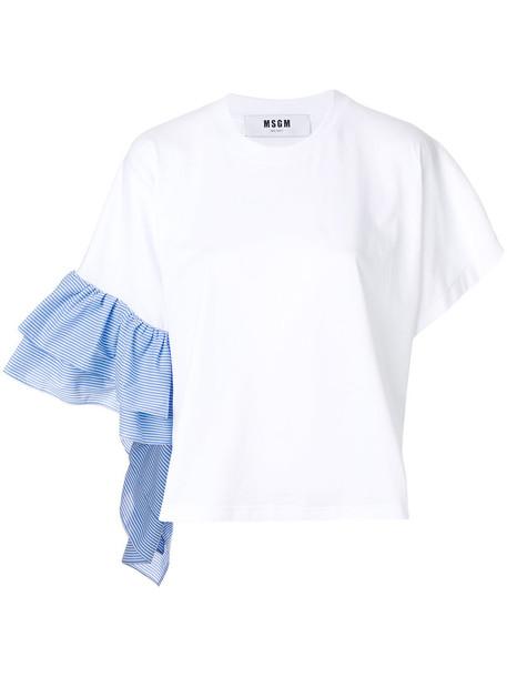 MSGM t-shirt shirt t-shirt ruffle women white cotton top