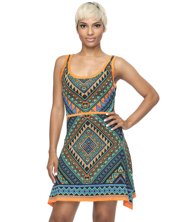 knit knitted dress blue dress aztec aztec dress orange multicolor aztec