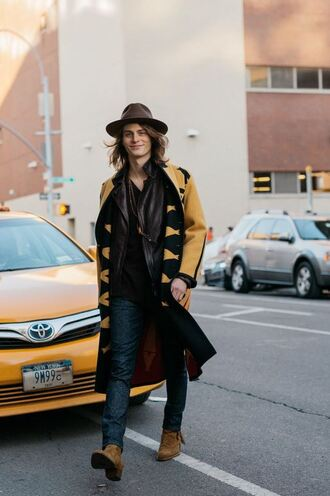 menswear fashion week 2016 streetstyle mens hat mens coat mustard mens boots