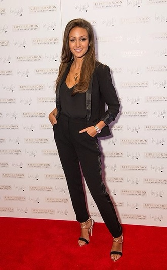 jacket michelle keegan all black everything head to toe silk vest cigarette pants