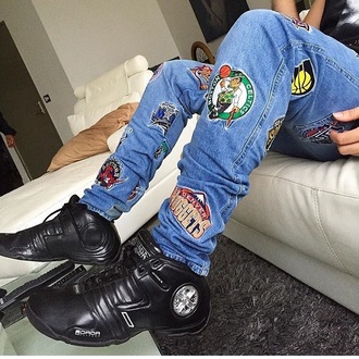 jeans men's nba logos skinny jeans swag dope