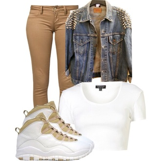 shoes sneakers drake spiked leather jacket crop tops jeans denim beige dress beige white jordans top