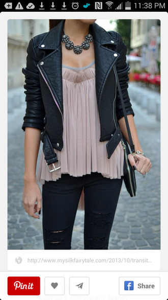 jacket leather jacket jeans blouse top girly jewels silky edgy shirt shirt girl pink shirt pink leather leder leder jacke black tank top