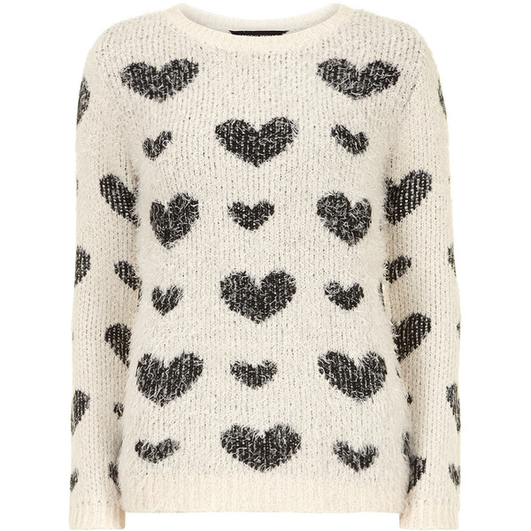 Dorothy Perkins Ivory fluffy heart jumper - Polyvore