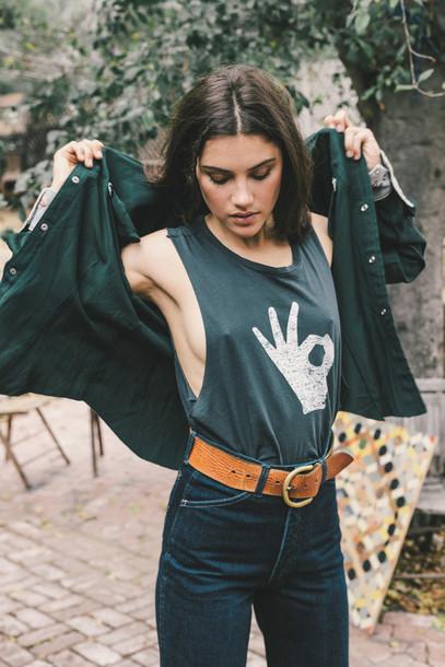 77519d079 top, tumblr, grey top, graphic tee, sleeveless, jacket, green jacket ...