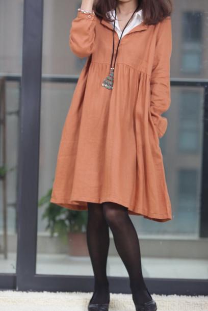 dress linen dress orange dress