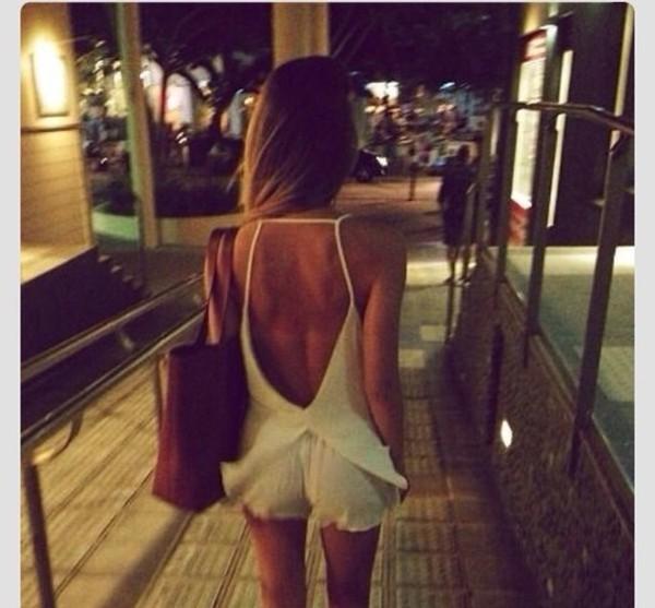 blouse white romper shorts open back open shoulder