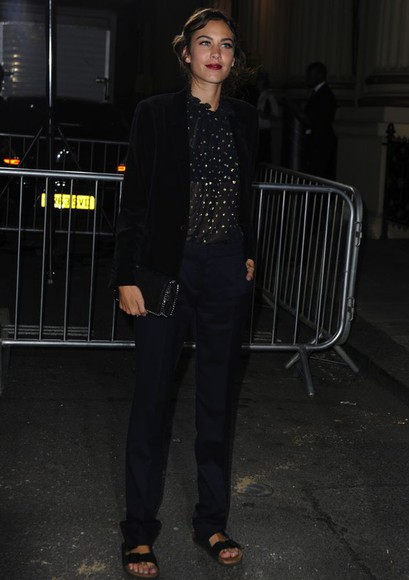 alexa chung fashion week 2014 streetstyle top blouse