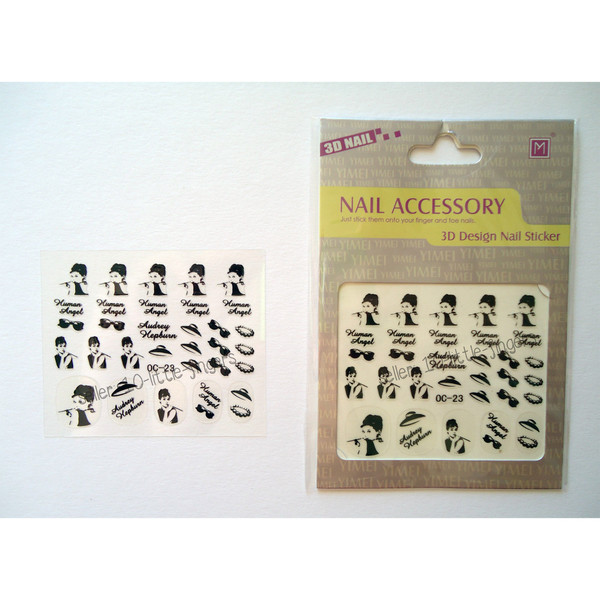 nail accessories nails nail art manicure pedicure decoration stickers audrey classy elegant pearl hat glasses audrey hepburn tiffanys