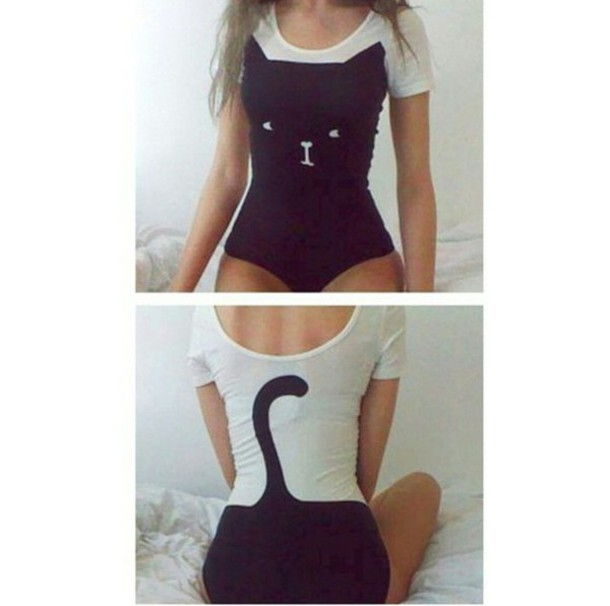 shirt cats one piece bodysuit cats black and white blouse blouse top