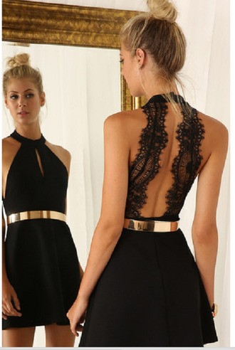 dress lace black open back sexy jewel neck sleeveless cut out women's dress fashion gold belt sexy party summer girly rosegal-jan