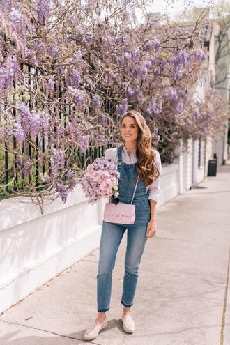 jeans denim overalls blue overalls shoes flats espadrilles top flowers dungarees overalls
