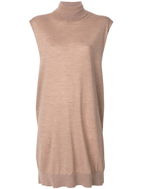 dress sweater dress sleeveless women wool brown