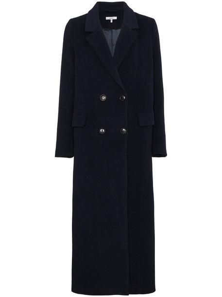 Ganni coat double breasted women blue wool