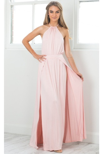 dress showpo pink maxi dress backless backless dress long dress tumblr indie boho prom greek goddess baby pink light pink