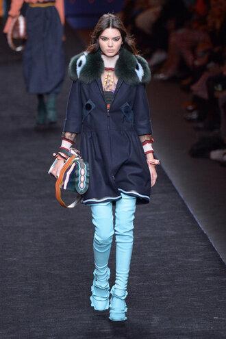 coat purse kendall jenner runway kardashians fashion week 2016 milan fashion week 2016 model boots fendi jacket over the knee boots