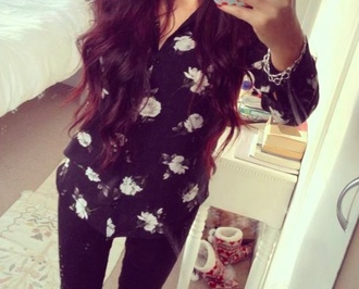 blouse floral black and white monochrome shirt roses cute cute shirt cute blouse wanting want it for cheap uk england english help me find size 8