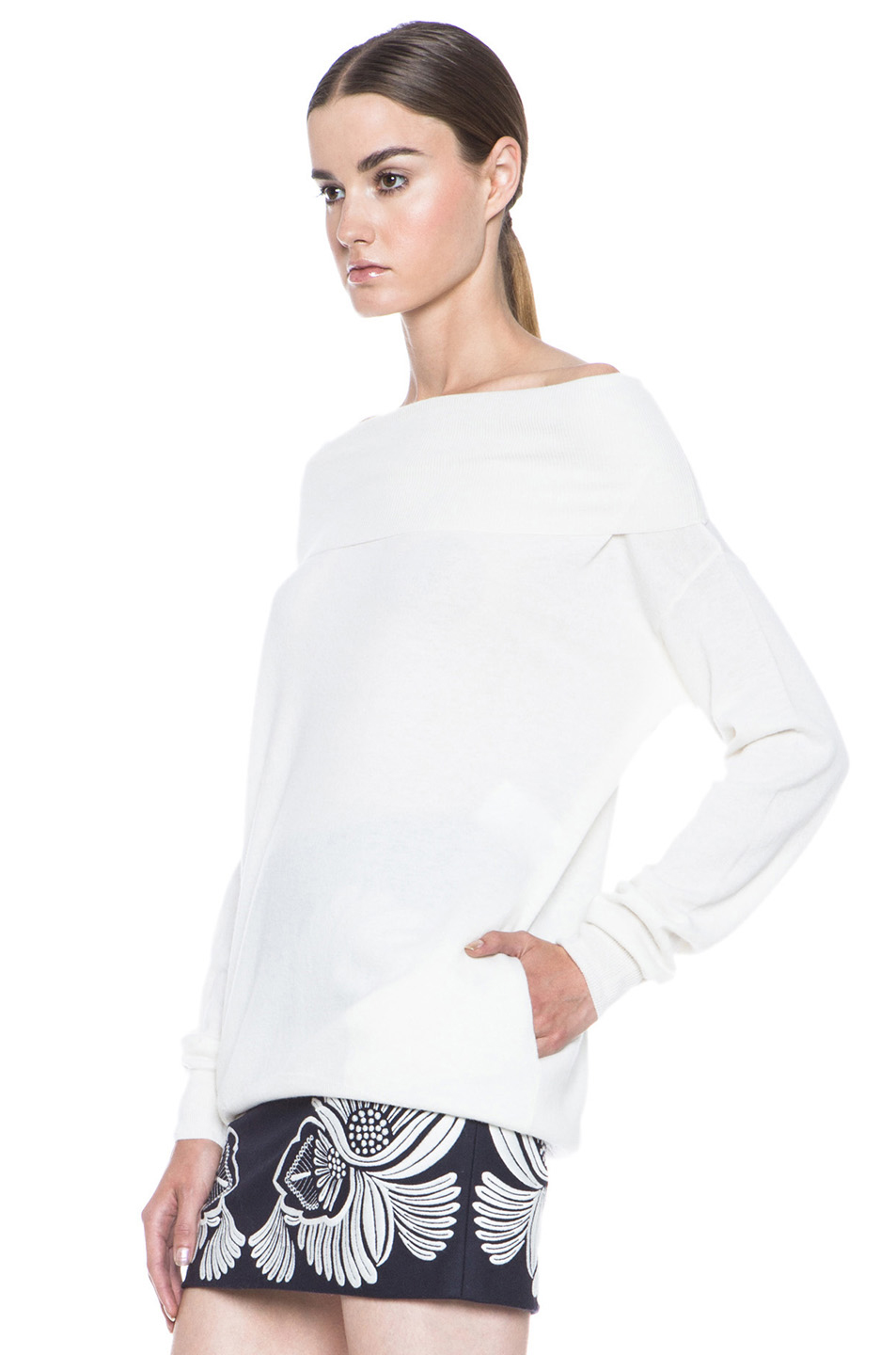 Stella McCartney|Off the Shoulder Wool Sweater in Cream