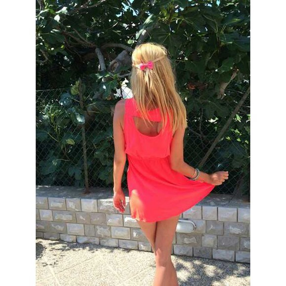 coral cut-out dress beach summer dress