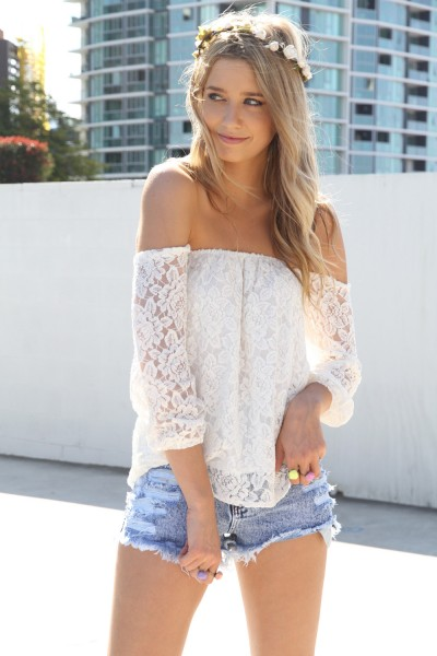 White Three-Quarter/Long Sleeve Top - White Lace Off the Shoulder | UsTrendy