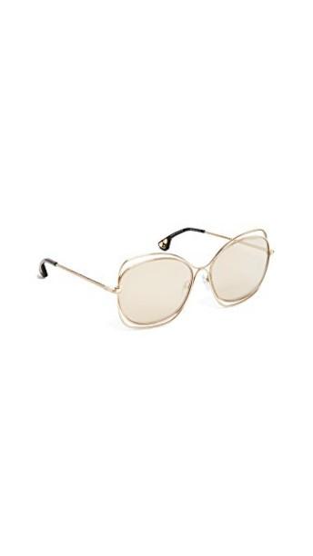 alice + olivia sunglasses shiny soft gold green