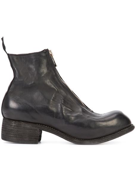 Guidi zip horse women leather black shoes