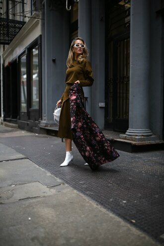 memorandum blogger coat top skirt shoes sunglasses bag jewels fall outfits floral coat ankle boots white boots