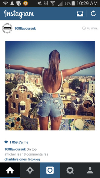 denim jeans wholes scratched denim shorts dolce vita short top backless white top backless top white top mini shorts ponytail beach festival festival outfit free girly