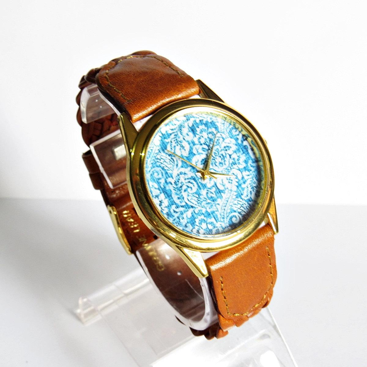 Perfect Denim Watch, Vintage Style Leather Watch, Women Watches, Ladies Watch, Genuine Braided Leather
