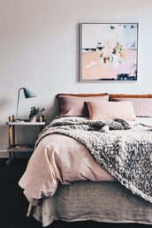 home accessory,bedding,bedroom,blanket,tumblr,home decor,furniture,home furniture,tumblr bedroom,pink,grey,table,lamp,pillow,frame