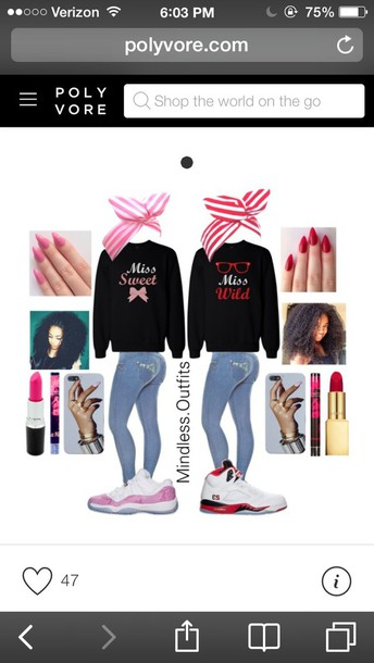 shirt miss red pink hoodie sweatshirt stripes cute lovely nails lipstick make-up love matching shirts shoes