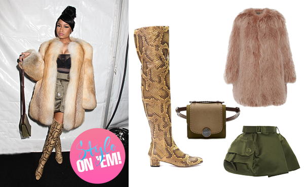 Style on 'em: nicki minaj in marc jacobs collarless fox fur coat, mini bag & mini skirt.